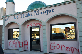 Cold-Lake-Mosque-vandalised